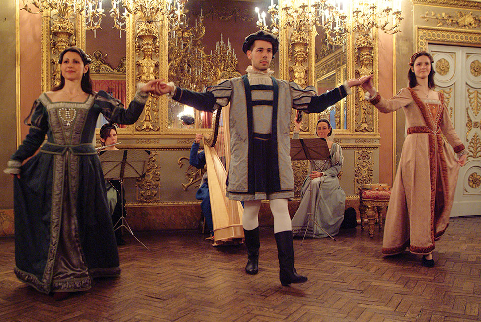 Dancers with typical costumes for renaissance dinners, Palazzo Borghese Florence