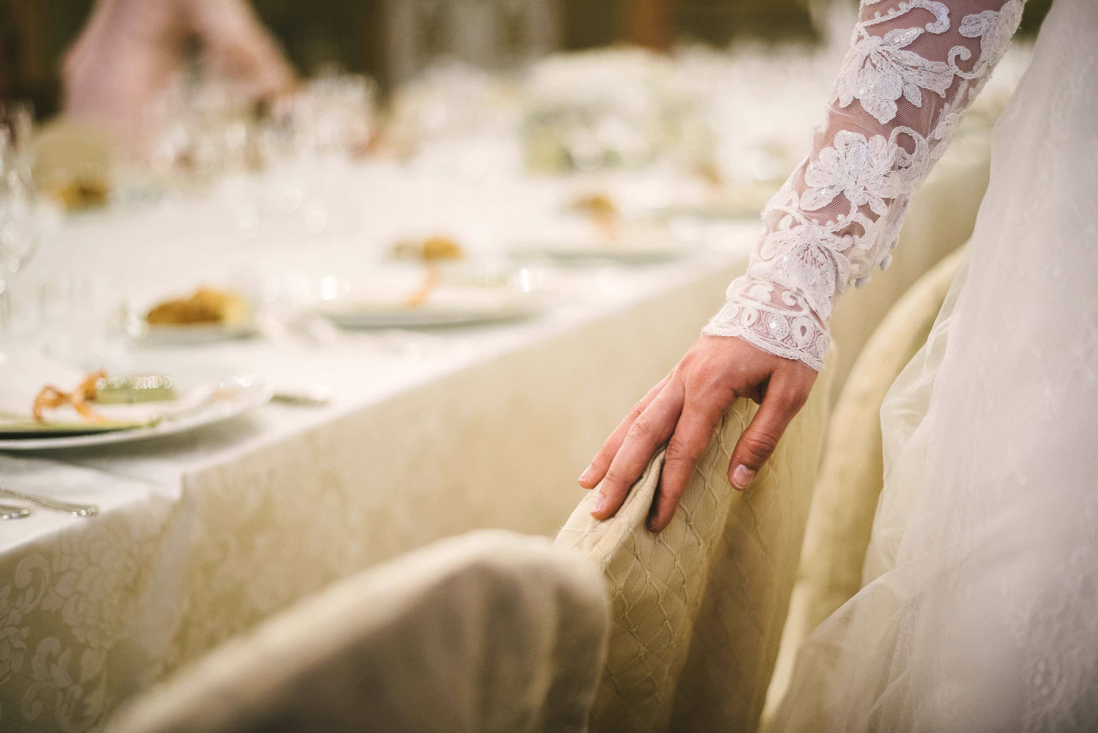 Bride detail, white dress, imperial table, dinner, florence wedding venue, Palazzo Borghese