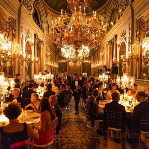 Gala Dinner in the banquet hall at Palazzo Borghese Firenze, lot of VIPS and international guests at the venue